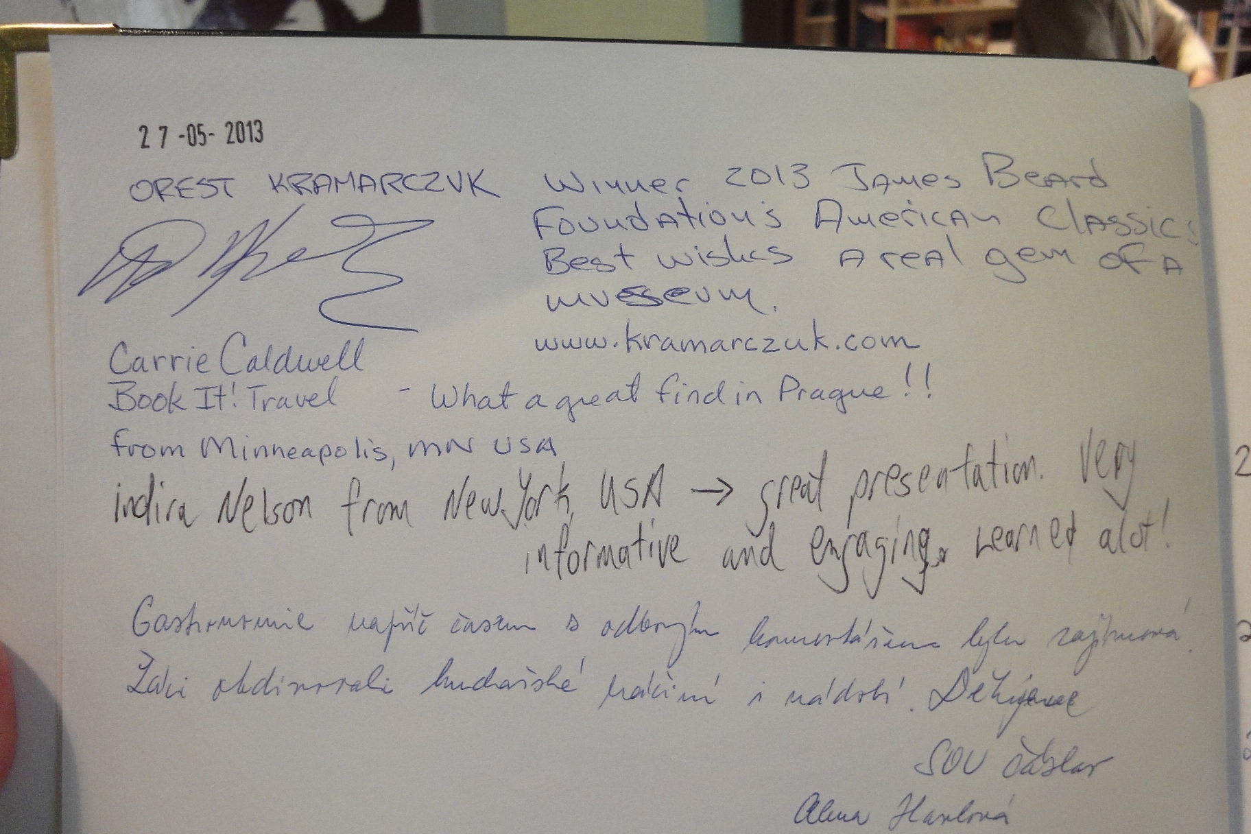 Entry in the Visitors' Book GASTRONOMY MUSEUM